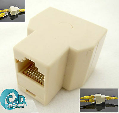 RJ45 Ethernet LAN Network Y Splitter 2 Way Adapter 3 Ports Coupler Connector NEW • 1.45£
