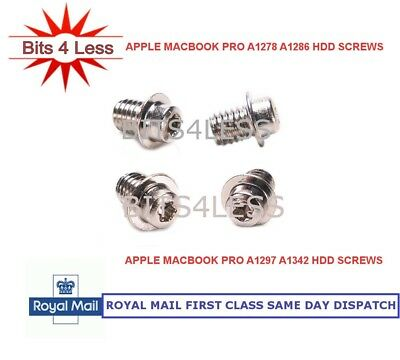 Apple Macbook Pro A1278 A1286 A1297 A1342 Hard Disk Drive Screw Set 4 HDD Screws • 1.65£