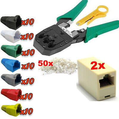 Network LAN RJ45 Cat 5e Cat6 Couplers Joiners Connectors Boots Crimping Tool Kit • 7.45£