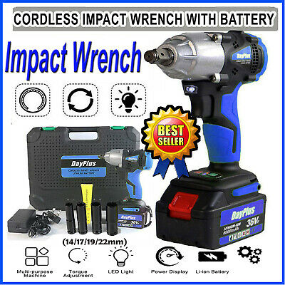 Cordless Impact Wrench Electric Driver Ratchet Rattle Nut Gun 21V 6.0A Li-ion UK • 73.50£