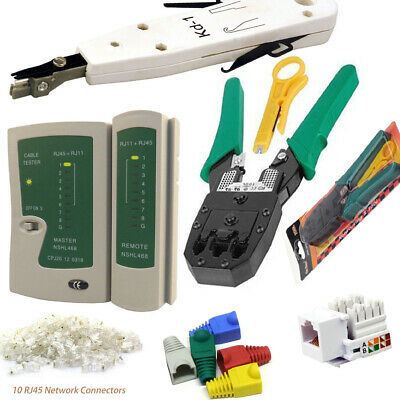 Network Kit Ethernet RJ45 RJ11 Cable Tester Crimping Punch Tool Connectors Boots • 10.95£