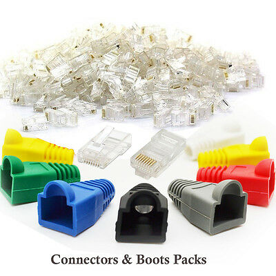 RJ45 Cat5e Cat6 Network LAN Ethernet Patch Cable Plug End Connectors & Boots Lot • 5.95£