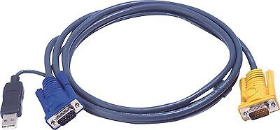 Aten KVM Cable VGA Male / USB A Male To Aten SPHD15-Y 3m • 22.85£