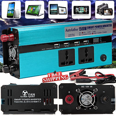 1500W/3000W WATT Car Caravan Modified Sine Wave Power Inverter DC 12V To AC 220V • 57.73£