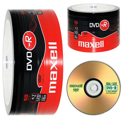 GENUINE MAXELL DVD-R 50 PACK BLANK DISCS RECORDABLE DVD 16x 4.7GB 120 MINS PC • 10.99£