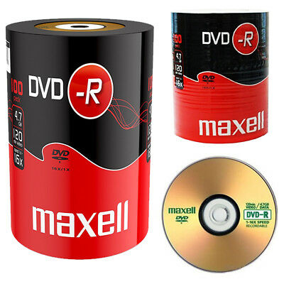 GENUINE MAXELL DVD-R 100 PACK BLANK DISCS RECORDABLE DVD 16x 4.7GB 120 MINS PC • 19.99£