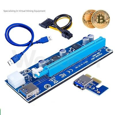 PCI-E 1x To 16x Power USB3.0 GPU Extender Riser Adapter Card Cable Bitcoin 6PIN • 3.99£