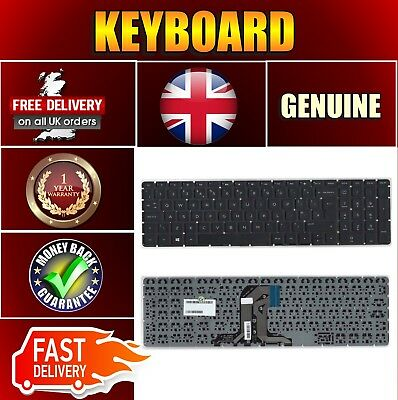 Replacement For Hp 15-ay167sa Laptop Uk Layout Black Keyboard Without Frame • 215.75£