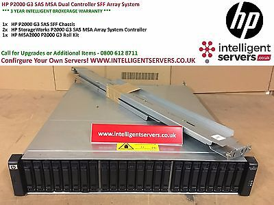 HP P2000 G3 SAS MSA Dual Controller 24SFF Array System With Rails ** AW594A ** • 795£