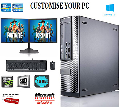 Dell Gaming & Dual Screen  I5 / I7 Desktop/Tower PC Win 10 ,16 GB,GT-1050 TI 4GB • 314.99£