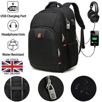 17.3/18 Inch Laptop Backpack Rucksack Waterproof Anti Theft USB Charger Port Bag • 21.99£