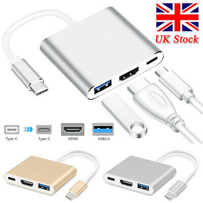 Type C To USB-C 4K HDMI USB 3.0 3 In 1 Hub Adapter Cable For Apple Macbook UK • 9.99£