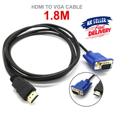 HDMI Lead To Laptop Cable Adapter HD VGA 15Pin 1080P Converter Male Monitor • 3.79£