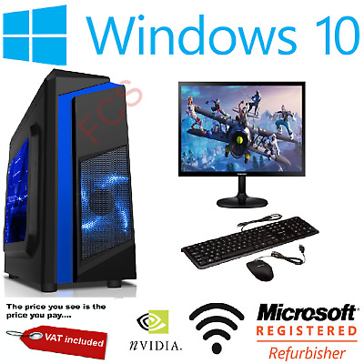 Cheap Custom Gaming PC Intel Core I7 Win10 GTX1650 16GB RAM 128GB SSD 1TB HDD • 398.99£