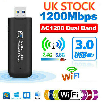 1200Mbps USB 3.0 Dual Band WiFi Dongle 5GHz/2.4G Wireless Network Adapter • 9.99£
