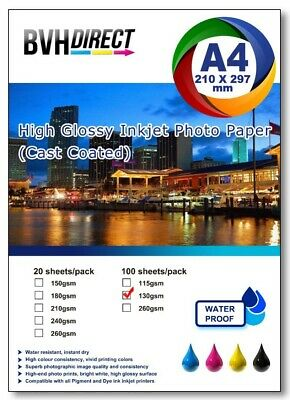 100 Sheets A4  High Quality High Glossy 130gsm Photo Paper Premium Cast Coated  • 8.99£