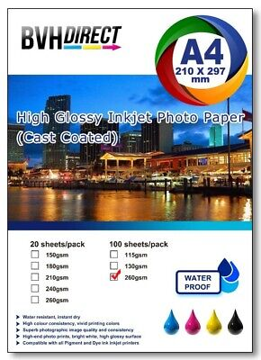 100 Sheets A4  High Quality High Glossy 250gsm Photo Paper Premium Cast Coated  • 8.79£