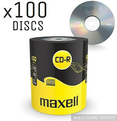 GENUINE MAXELL 100x CD-R BLANK RECORDABLE DISCS CDs MEDIA BLANK DISKS 52X SPEED • 16.99£