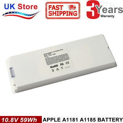 Battery A1185 For Apple MacBook 13  Late 2006 2007 2008 2009 A1181 White 59Wh • 18.99£