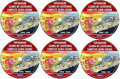 Spanish Language Course Learn By Licensing From Beginners To Advance 6x Audio CD • 4.99£
