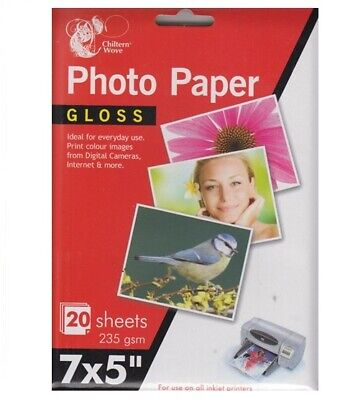 7 X 5  Gloss Printer Photo Paper 20 Sheets 235gsm For Inkjet Printers • 2.09£