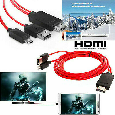 MHL Micro USB To HDMI 1080P HD TV Cable Adapter For Android Phones Samsung LED • 5.49£