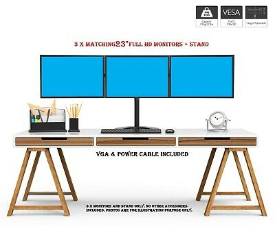 TRIPLE SCREEN SETUP + STAND FOR PC HOME OFFICE Trading PC 3 X 23  MONITOR 1080p • 199.99£
