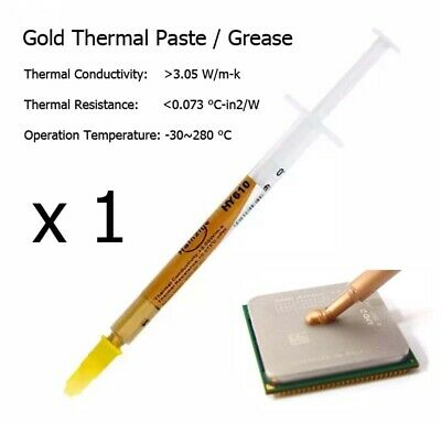 1 X High Quality Gold Thermal Transfer Heatsink Processor CPU Paste Grease Tube • 1.19£