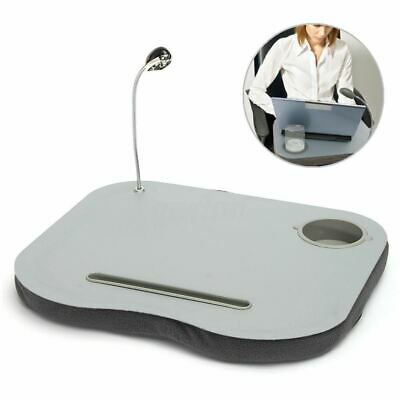 Portable Lightweight Laptop Cushion With LED Light Pen Holder Water Cup Holder • 11.85£