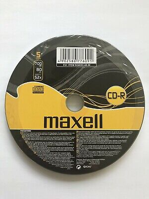 5-100 Maxell CD-R 700mb 80Min 52x Blank Recordable Discs Data Music -Shrink Wrap • 2.99£
