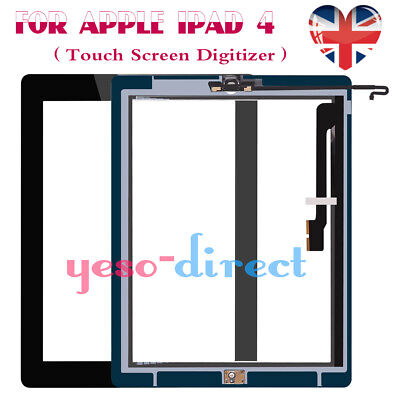 For IPad 4 A1458 A1459 A1460 Black Touch Screen Digitizer Glass Replacement &IC • 8.99£