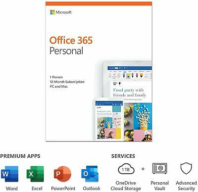 Microsoft Office 365 Personal 1 User 12 Month Licence Key 2020 Edition PC Mac • 39.95£