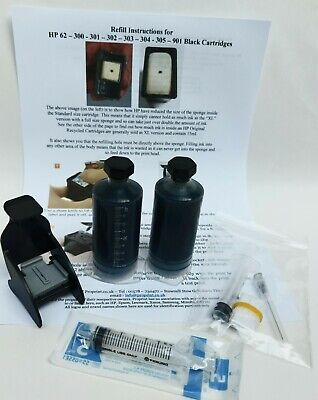 HP 303 & 303XL Black Ink Cartridge Refill Kit Including Primer Tool And Ink • 10.99£