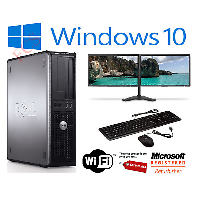 Fast Dell Dual Screen Pc Computer Desktop Tower Windows 10 8gb Ram 1000gb Hdd • 168.99£