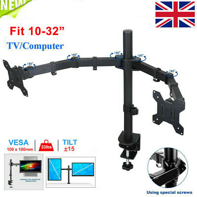 Dual Monitor Stand - Double Arm Desk Mount For 13-32 Inch VESA Screens • 20.99£