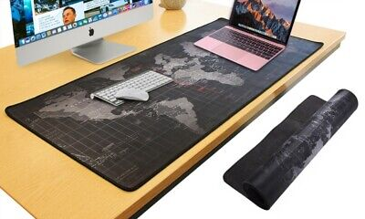 Large Size Gaming Black Mouse Pad World Map Print 90x40cm Non-Slip Washable • 6.99£