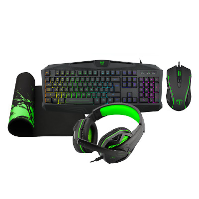 Gaming Keyboard, Headset XBox PS4 PS5 PC, Mouse, Mat 4 In 1 Starter Pack Set • 39.99£