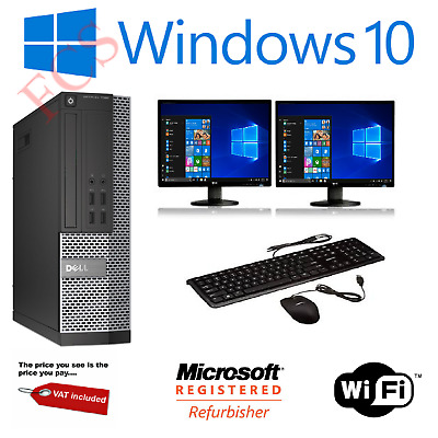 ULTRA FAST Gaming PC Bundle Intel Core I7 8GB 1TB Windows 10 GT710 DUAL SCREEN • 198.99£