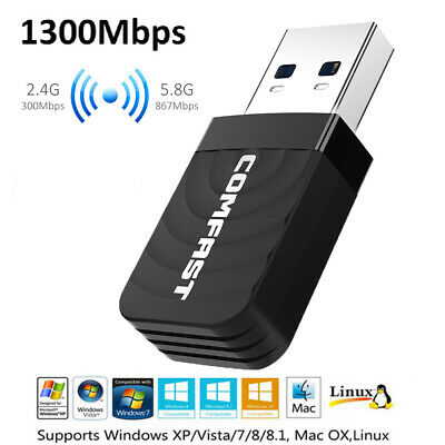 1300Mbps WLAN Wifi Adapter 2.4G/5G USB 3.0 Wireless Dual Band Dongles Laptop PC • 10.99£