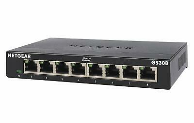 NETGEAR GS308 8-Port Gigabit Ethernet Network Switch, Hub, Internet Splitter, • 25.99£