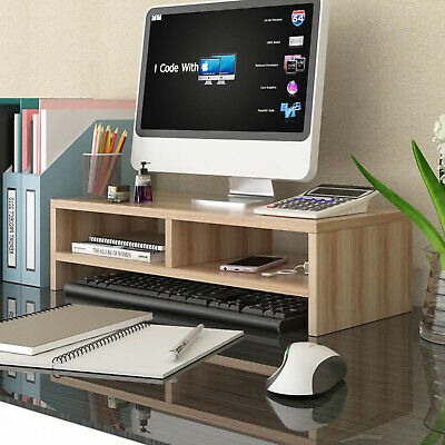Computer Riser Monitor Stand Tidy PC Laptop Screen TV Desk Storage Plinth Walnut • 18.99£