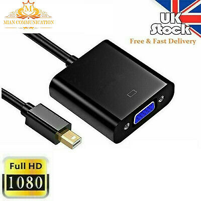 UK Mini Display Port DP Thunderbolt Male To VGA Cable Adapter Also  Macbook IMac • 3.69£