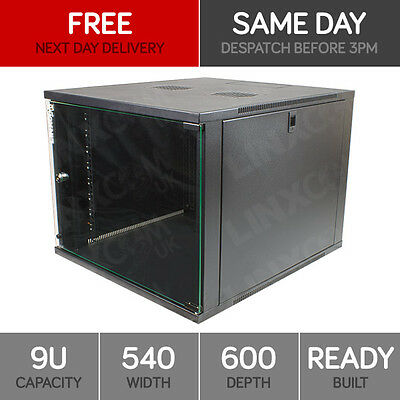 9U Server Rack Network Cabinet 19 Inch 540 X 600mm Black • 59£