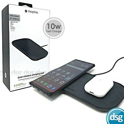 Mophie Dual Wireless Charging Pad - 10W Fast Charger - Black Fabric UK Spec • 49.99£