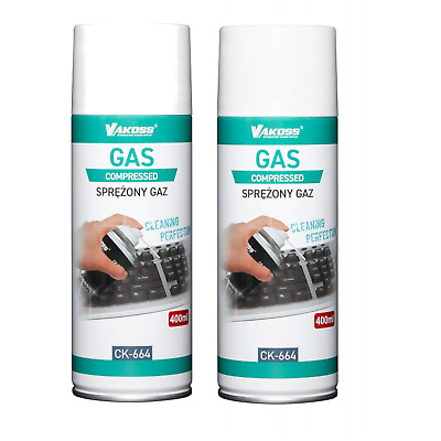 2x 400ml Air Duster Spray Gas Cleaner 800ml Compressed Dust Blower Easy Clean UK • 7.70£