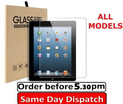 100% Tempered Glass Screen Protector Apple Ipad 2/3/4/5 Mini 2/3/4 Air 9.7  12.9 • 3.89£