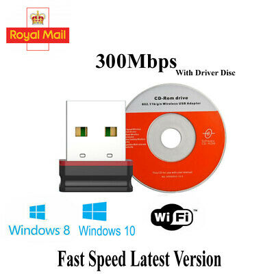 300Mbps Fast Mini Wifi Usb Adapter Dongle Receiver 802.11BGN LAN Network Card UK • 3.05£