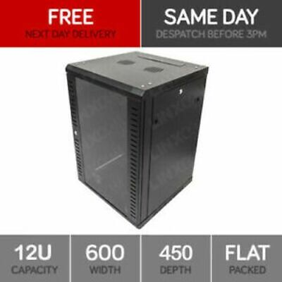 12U Server Rack Network Cabinet 19 Inch 600x450mm Black • 73.95£