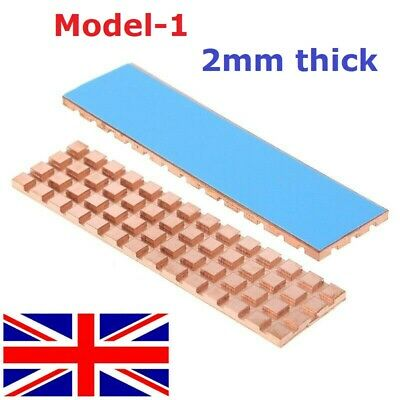 Copper Heatsink Thermal Conductive Adhesive For M.2 NGFF 2280 PCI-E NVME SSD 2mm • 5.89£