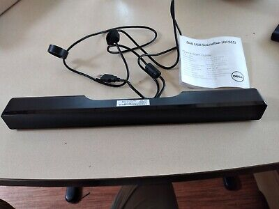 Dell Ac511 Usb Wired Stereo Sound Bar Black New & Unused • 14£
